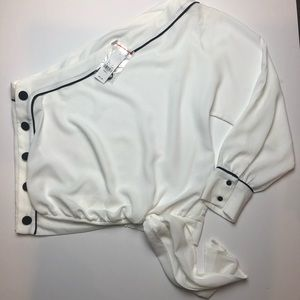 NY&C white one shoulder blouse with navy pipping